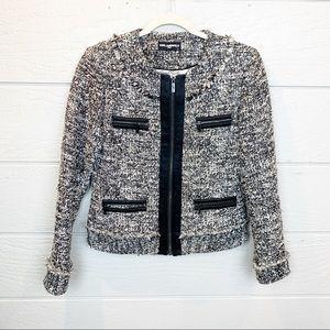 Karl Lagerfeld Paris Round Neck Zip Tweed Blazer
